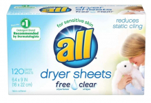 all Fabric Softener Dryer Sheets for Sensitive Skin Pack $3.97 (REG $10.10)