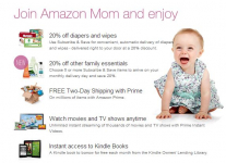 Amazon Mom free 3 Month Trial + $20 off Diapers!