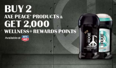 Get 2,000 Wellness+ Rewards when you buy 2 Axe Peace Products at Rite Aid!