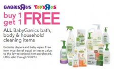 Babies R Us-BabyGanics Sale-$7.99 Diapers, BOGO Bath and Household Items + More!
