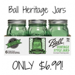 Ball 1pt Green Heritage Collection Jars 6 Pack Only $6.99!