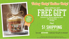 Bath and Body Works: FREE Harvest Gathering Candle w/ Purchase- TODAY ONLY!