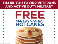 FREE All You Can Hotcakes for Military & Veterans at Bob Evans!