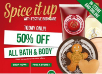 50% off all Bath and Body at The Body Shop