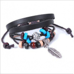 Bohemian Vintage Style Feather Beads Leather Bracelet Only $.99 Shipped!