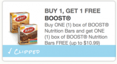RARE Buy 1 Box of Boost Nutrition Bars Get 1 FREE Coupon!