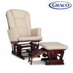 Graco Sterling Semi-Upholstered Glider and Nursing Ottoman Cherry w/ Beige Cushions -$134.99(48% Off)