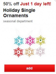 Cartwheel Offer: 50% off Holiday Single Ornaments