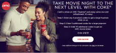 Enter 20 Coke Codes, Get AMC Movie Ticket + Large Popcorn and Fountain Drink