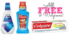 FREE Colgate Total Toothpaste and Mouthwash + Crest Rinse at Walgreens!