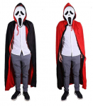 Unisex Halloween Black Red Reversible Hooded Cloak with Cape $12.99 (REG $35.99)