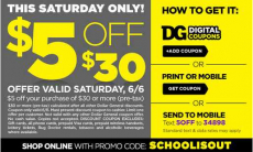 Dollar General $5 off of $30 Coupon- In-store or Online!