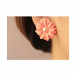 Elegant Pink Daisy Pearl Earrings Only $1.67 Shipped!