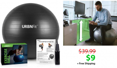 URBNFit 65cm Exercise Stability Ball w/ Hand Pump (Black)
