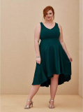SPECIAL OCCASION GREEN SCUBA KNIT & SATIN HI-LO GOWN $58.79(58% Off)