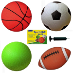 Set of 4 Sports Balls with 1 Pump $13.90 (REG $30.00)
