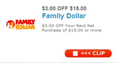 Family Dollar $3 off $15 Coupon