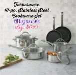HOT! Farberware 10-pc. Stainless Steel Cookware Set Only $37.99 (Reg. $170!)