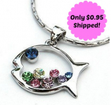 *HOT* Rainbow Colored Gem Studded Fish Necklace Only $0.95 Shipped!