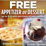 FREE Appetizer or Dessert at Ruby Tuesday!