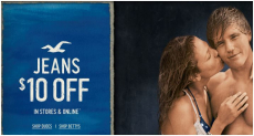 Hollister: $10 off Jeans + up to 50% off Clearance!