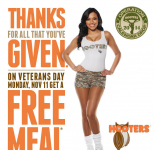 FREE Meal at Hooters for Military & Veterans!