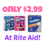 Huggies Pull-Ups or GoodNites Package Only $2.99 (Reg. $12.99) at Rite Aid!