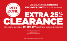 JCPenney: Extra off 25% Red Zone Clearance! 2 Days Only!