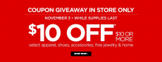 $10 of $10 JCPenney coupon is back!