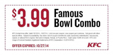 KFC Famous Bowl Combo only $3.99