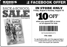 Kohl's $10 off $25 Kids Apparel + 15% including Clearance + Kohl's Cash!