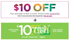 HOT! Save $10 off of $25 at Kohl's + $10 Kohl's Cash!