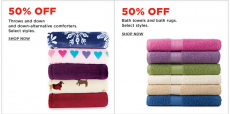 Kohl's: 50% off Throws, Comforters, Bath Towels and Rugs + Extra 15% off!