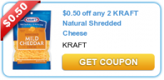 $0.50 off two Kraft Natural Shredded Cheese Coupon