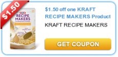 $1.50 off one Kraft Recipe Makers Product Coupon