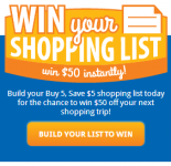Kroger and Affiliates Shopping List Instant Win Game!- Win $50 Off of Your Next Shopping Trip!
