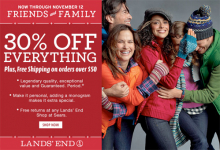 Lands' End: 30% off + Extra 65% off Clearance + Free Shipping!