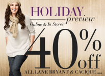 40% off site wide at Lane Bryant