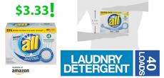 all Powder Laundry Detergent 52 Ounces, 40 Loads $3.33!