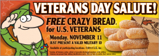 FREE Crazy Bread for Military & Veterans at Little Ceasars!