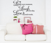 """""""Live every moment, Laugh every day, Love beyond words"""" Wall Quote Decal Only $1.87 Shipped!"""