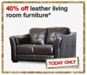 TODAY ONLY- 40% off Leather Living Room Furniture  + Extra $5 Off from Target!
