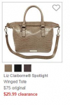 $10 off $25+ JCPenney.com Purchase = Liz Claiborne Purse just $19.99 (reg $75)