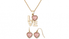 Liz Claiborne Pink & Gold-Tone Love Pendant Necklace & Earring Set Only $10.19! – Great Valentine's Gift!