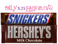 Mars and Hershey's Candy Bars Only $.25 Each at CVS!