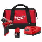 Milwaukee M12 Fuel 12-Volt Li-Ion Brushless Cordless 1/4″ Hex Impact Driver Kit – $99.00 (34% Off)