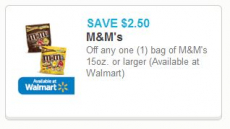 $2.50 off any one (1) bag of M&M's 15oz. or larger