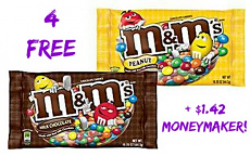 HOT! 4 FREE Large Bags of M&M's at Kroger +$1.42 Moneymaker!