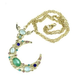 Vintage Style Crystal Sapphire Paved The God of Moon Pendant Necklace Only $1.83 Shipped!
