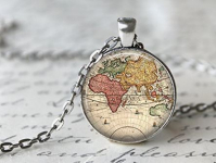 Antique World Map Globe Necklace Only $2.99 + FREE Shipping!